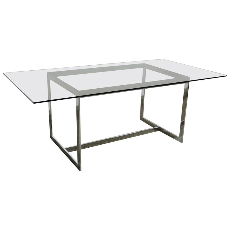 Milo Baughman Thayer Coggin Chrome and Glass Dining Table or Desk