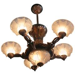 Copper Art Deco Style Chandelier with Frosted Glass Shades **Saturday Sale**