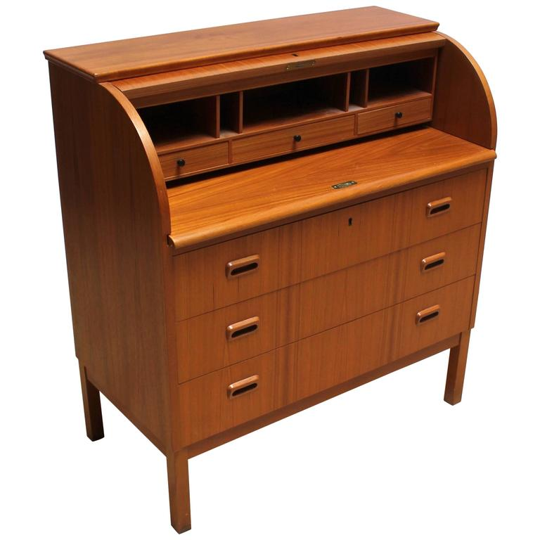 1960s Scandinavian Teak Roll Top Secretary Desk 1