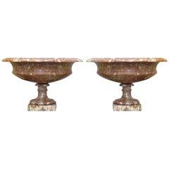 Pair of 19th Century Turned Rossa Verona Marble Tazzas