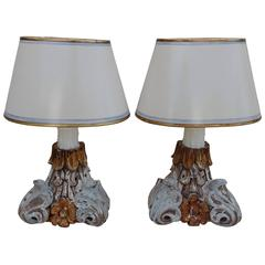 Carved Italian Painted Corbel Lamps with Parchment Shades