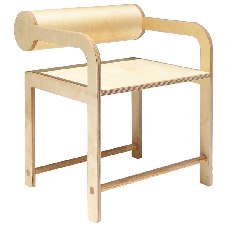 Waka Waka Contemporary Wood Cylinder Back Accent Armchair 1