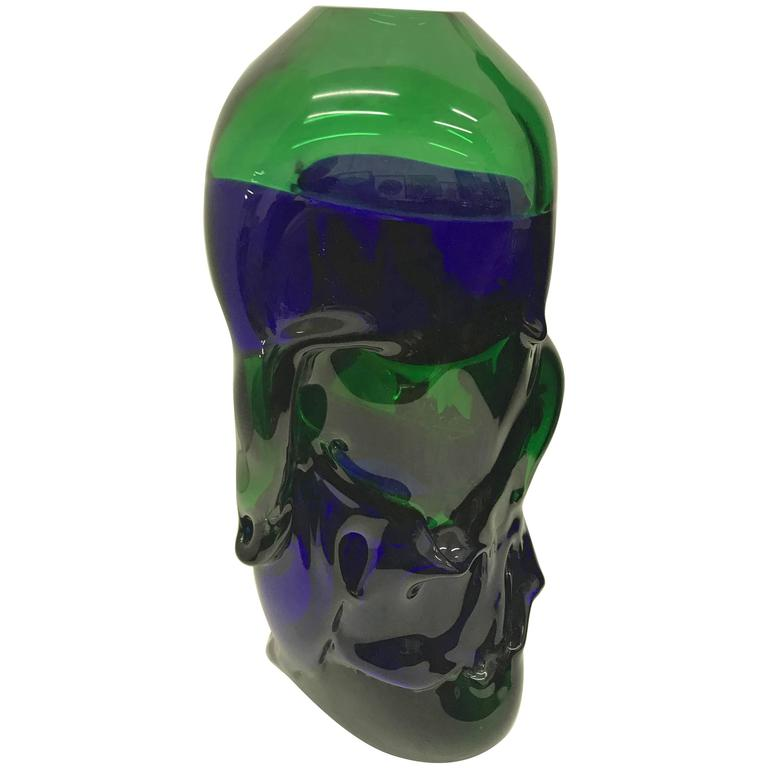 Unique Blue and Green Murano Glass Vase by Paolo Crepax, circa 1990 For Sale