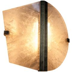 """Twobe"" Wall Lamp in brass, Rock Crystal, led light, handmade in tuscany italy"