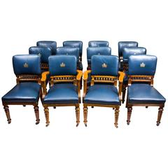 Antique Set of 12 Scottish Oak Leather Upholstered Dining Chairs, circa 1870
