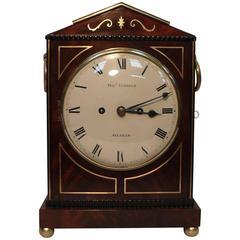 English Regency Mahogany and Brass Inlaid Bracket Clock