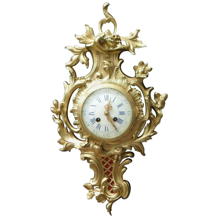 French Bronze Gilt Rococo Style Wall Clock For