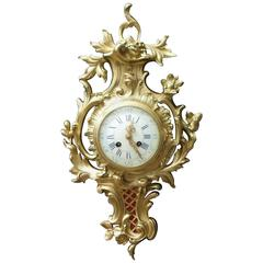 French Bronze Gilt Rococo Style Cartel Wall Clock