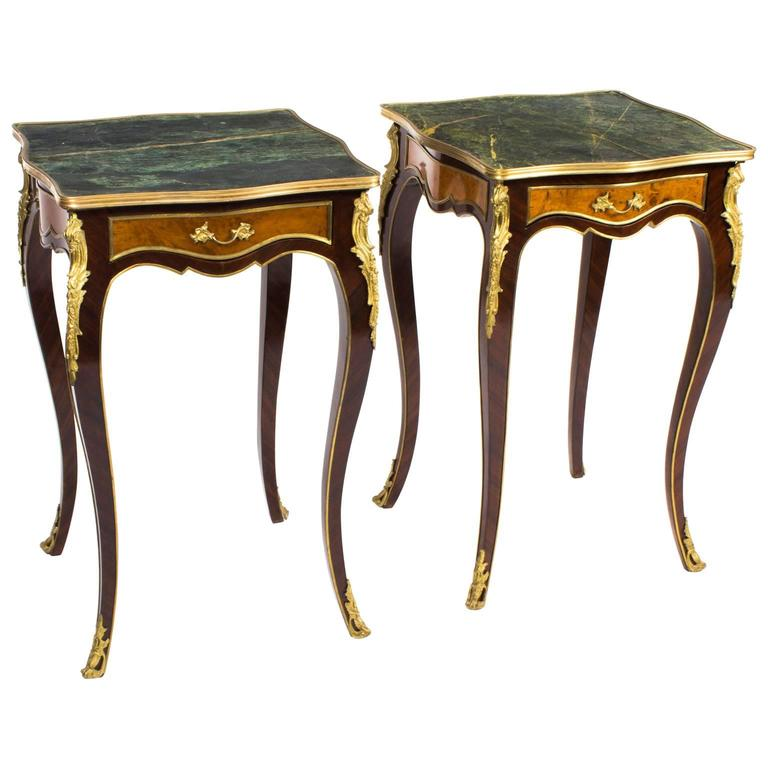 Stunning Pair of Louis Revival Verde Antico Marble-Topped Side Tables