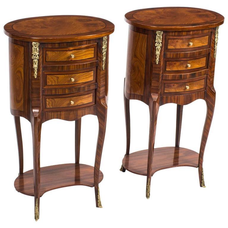 Pair of Louis XVI Style Burr Walnut & Bird's-eye Maple Bedside Cabinets
