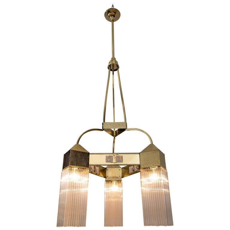 Big and Beautiful Hammered Art Nouveau Chandelier with Glass Sticks