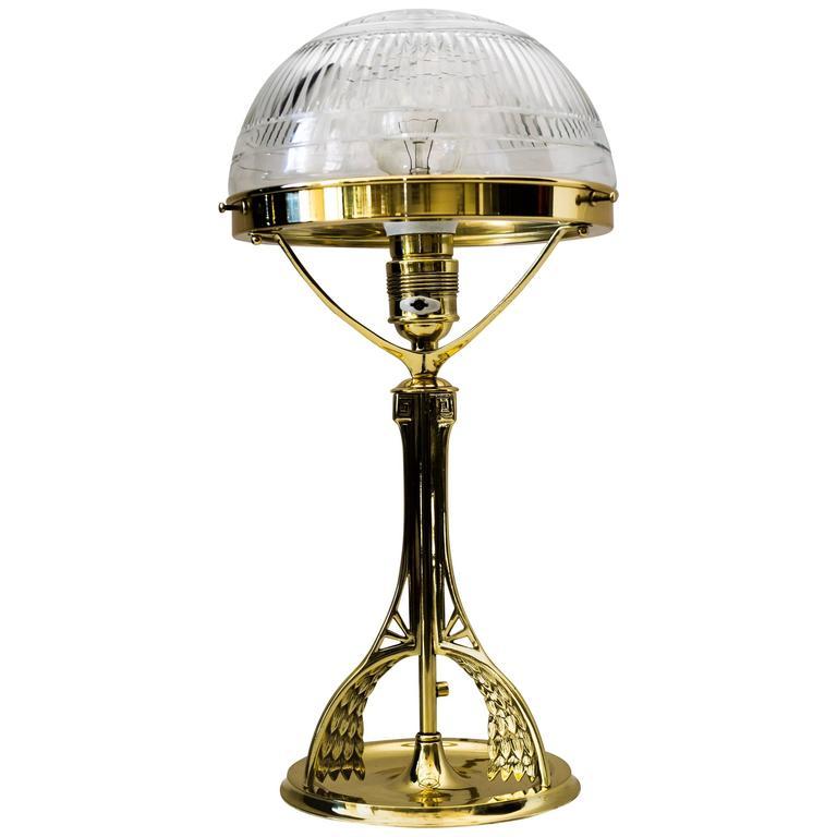 Art Nouveau Table Lamp With Original Cut Glass Circa 1908 For Sale