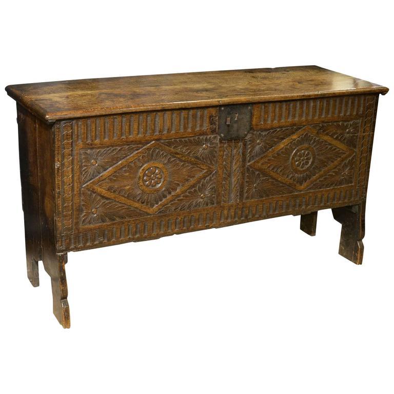 17th Century Oak Carved Six Plank Coffer