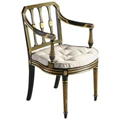 Early 19th Century Ebonized and Gilded Armchair