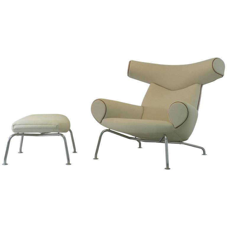 Hans Wegner Ox and Ottoman For Sale