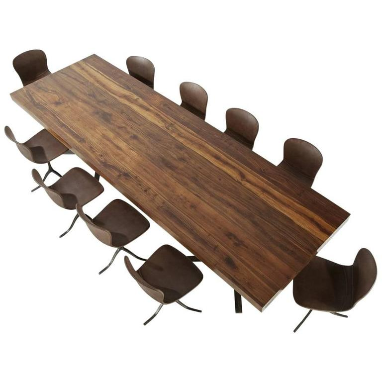 Ten-Top Dining Table, Reclaimed Wood & Brass, Matching Chairs, by P. Tendercool For Sale