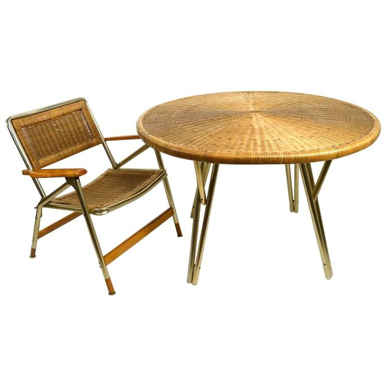 Ultra Chic Patio Set Table And Four Chairs By Telescope Furniture For Sale