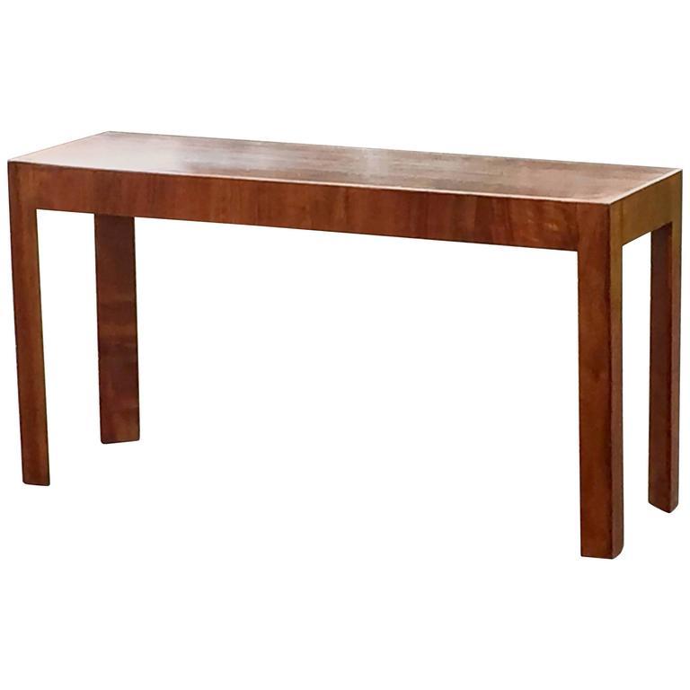 Mid Century Modern Console Table: Sleek Mid-Century Modern Italian Walnut Console Table For