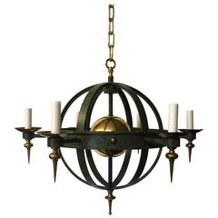 Striking Vintage Spherical Iron and Brass Sputnik Chandelier