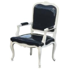 Sassy French Style Arm Chair with Painted Wood Frame and Black Patent Leather