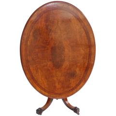 19th Century Victorian Burr Walnut Oval Loo Table