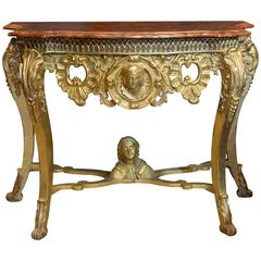 Giltwood and Gesso Marble-Topped Console Table