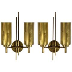 Pair of Italian Mid-Century Brass Wall Sconces, 1950's