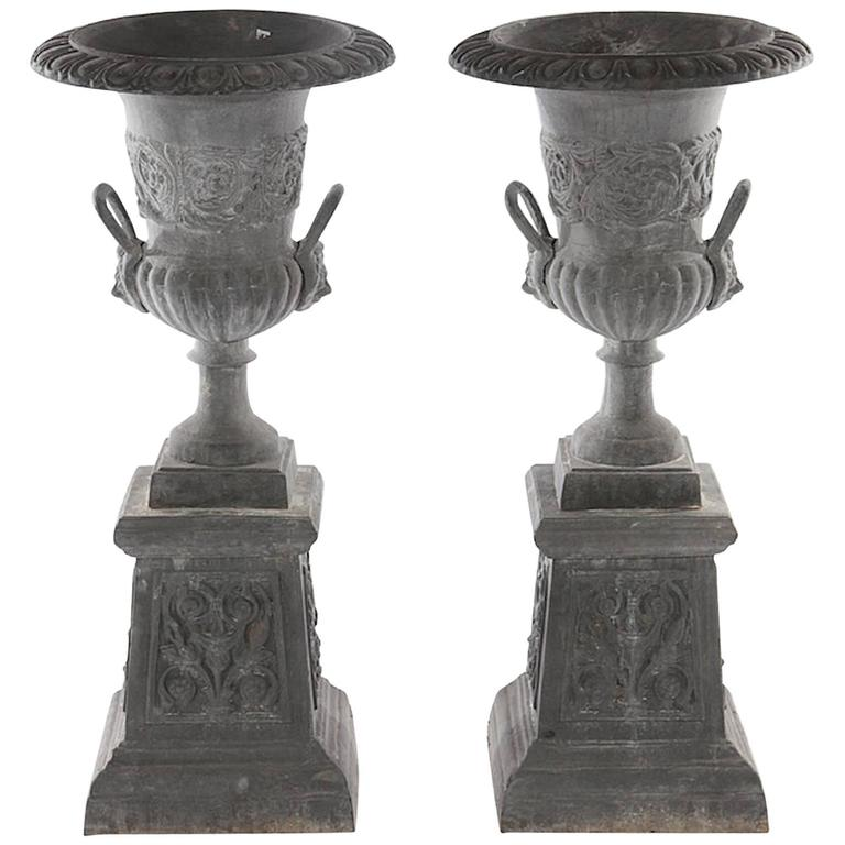 Pair of Neoclassical Style Cast Iron Garden Urn