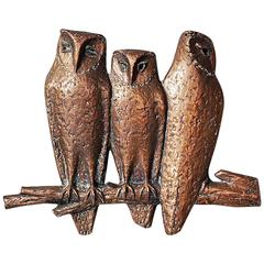 Bronze Wall Sculpture of Owls on Branch, Germany, 1960s