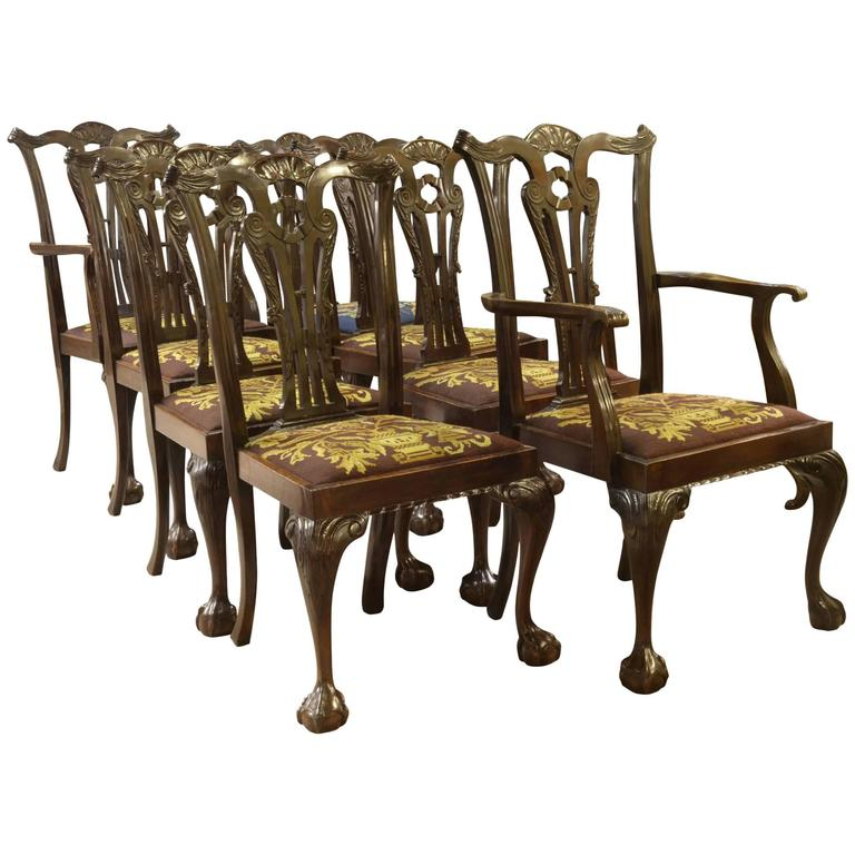 Set Of Eight Irish Chippendale Style Dining Chairs For Sale At 1stdibs