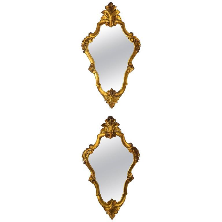 Pair of 20th Century Italian Giltwood Mirrors
