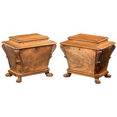 Pair of Regency Period Cellarets of Flared Sarcophagus Form
