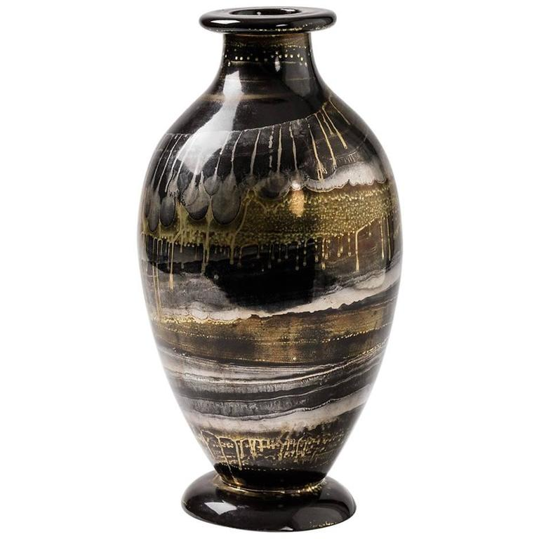 Ceramic Vase with Black, Gold and Silver Glazes by Lucien Brisdoux, 1970