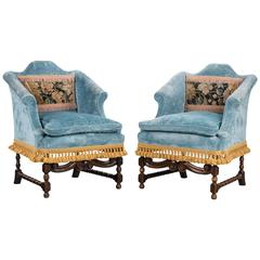 Pair of Late 17th Century Style Walnut Chairs