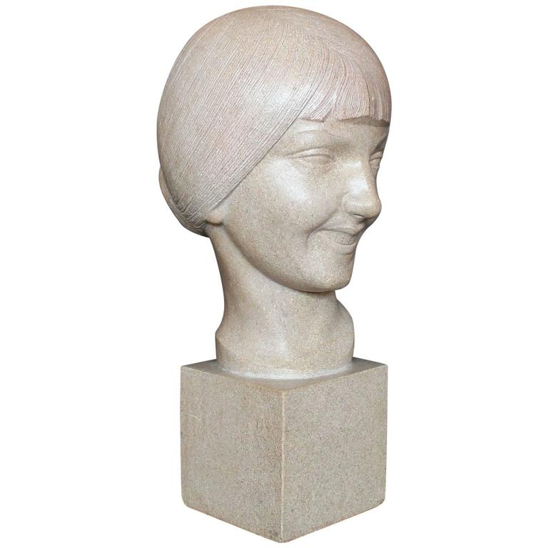 Art Deco Stone Bust For Sale
