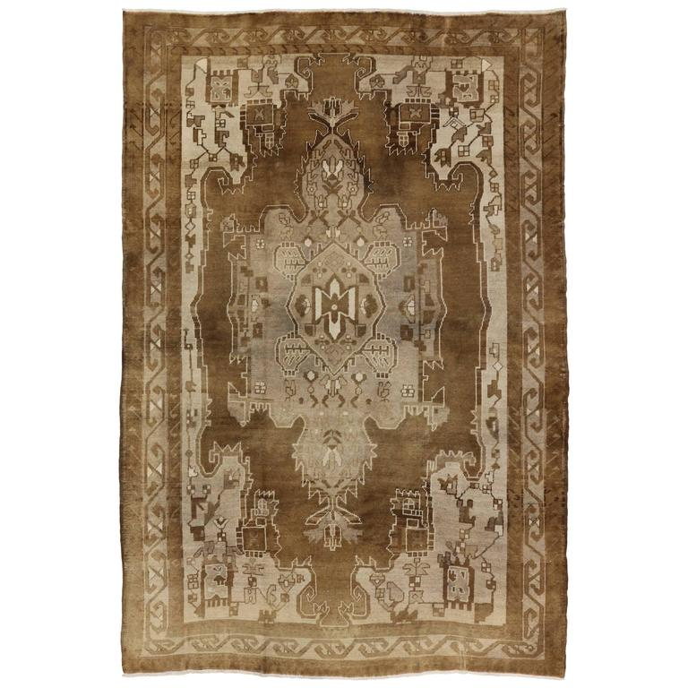 Modern Rugs Vintage: Vintage Kars Rug With Mid-Century Modern Style For Sale At