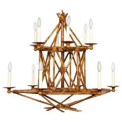 Newly Made Twelve-Light Faux Tortoiseshell Chandelier