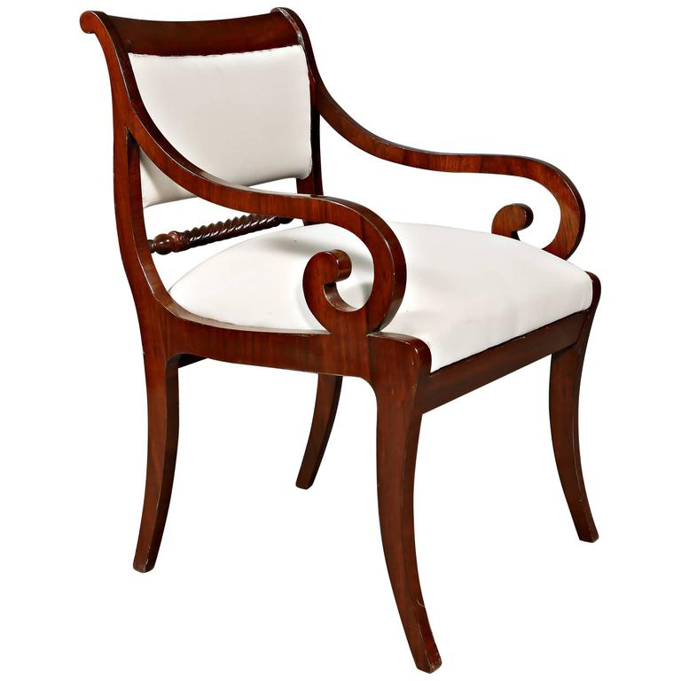 4 Beautiful French Biedermeier Armchairs In Solid Walnut ...
