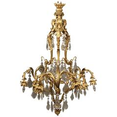 Fine Early 20th Century Gilt Bronze and Crystal Eleven-Light Chandelier