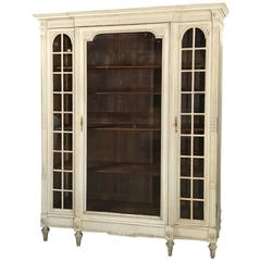 19th Century, French, Louis XVI Painted Triple Bookcase, Display Armoire
