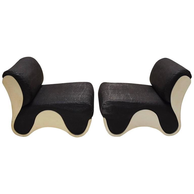 Pair of Fiberglass Lounge Chairs, circa 1965