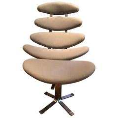 Corona Chair with Stool by Poul Volther, 1960s