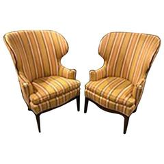 Pair of Edward Wormley for Dunbar Wing Chairs