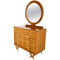 Stunning Dresser with Mirror Ascribable to Tomaso Buzzi, Italy, 1940s