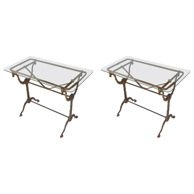 Pair of English Pub or Bistro Tables of Cast Iron with Glass Tops