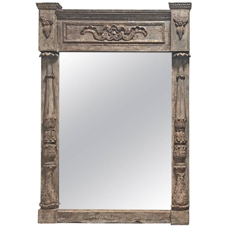 Antique Architectural Parcel-Gilt Framed Mirror, circa 1850 For Sale