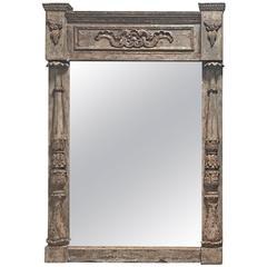 Antique Architectural Parcel-Gilt Framed Mirror, circa 1850