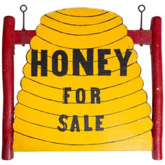 Double Sided Folk Art 'Honey for Sale' Trade Sign