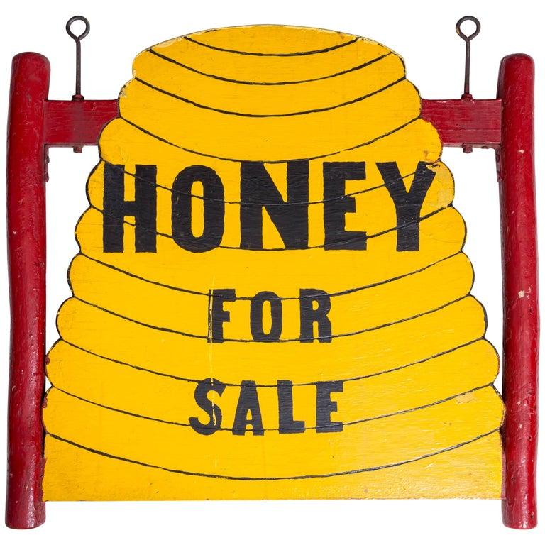 Double-Sided Folk Art 'Honey for Sale' Trade Sign