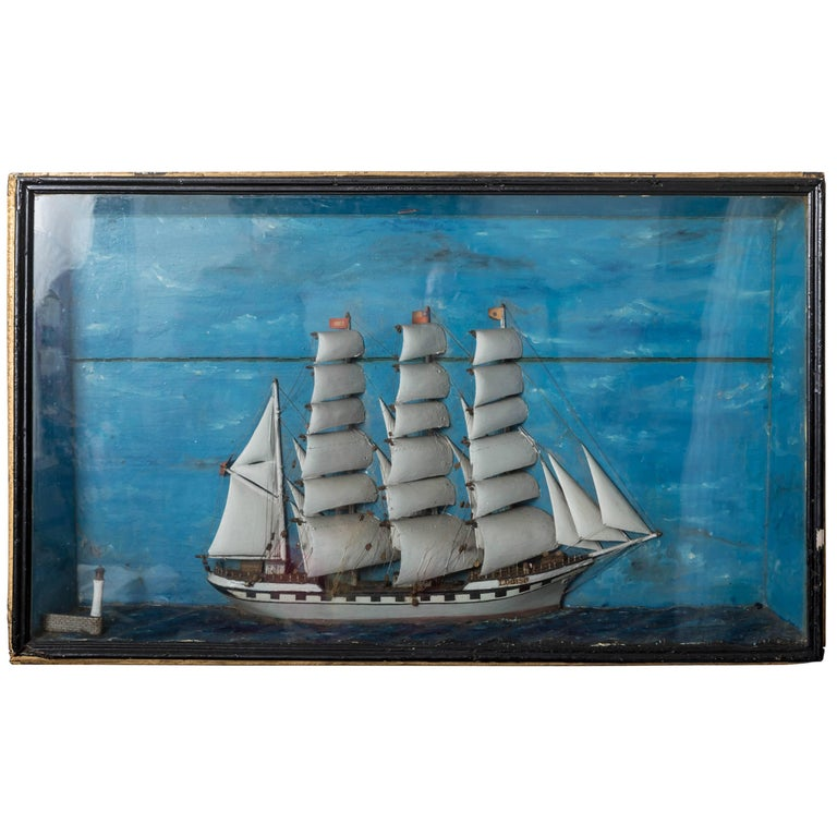 19th Century French Ship Diorama 'Louise' Shadow Box For Sale